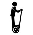 man riding personal mobility device icon symbol vector image