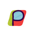 p letter logo in kids paper applique style vector image vector image