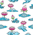 pattern with lotuses and clouds vector image vector image