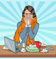 pop art business woman sneezing at work vector image vector image