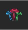 psilocybin mushrooms logo glow toxic neon magic vector image vector image