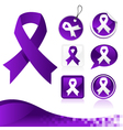 Purple Awareness Ribbons Kit vector image vector image