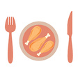 Roasted Chicken In A Plate With Knife And Spoon vector image