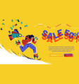 sale cartoon landing page with running girl ads vector image