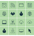 set of 16 internet icons includes pc program vector image vector image