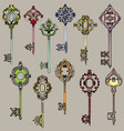 set of beautiful and colorful vintage keys vector image vector image