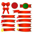 set of christmas banners with red ribbon vector image vector image