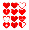 set of red hearts symbol on white stock vector image vector image