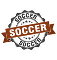 soccer stamp sign seal vector image vector image