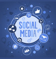 social media concept banner with round icons vector image