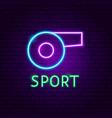sport neon label vector image