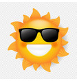 sun with sunglasses isolated transparent vector image vector image