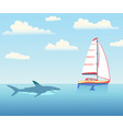 the shark is pursuing the yacht vector image