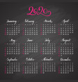 traditional view calendar layout for 2020 year vector image vector image