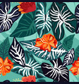 tropical leaves with hibiscus flower seamless vector image