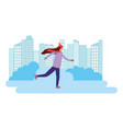 woman skating on ice in the city vector image