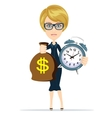 Woman with clock and money vector image vector image