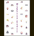 set icons in flat design desserts vector image