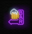 glowing neon beer bar signboard with arrow on vector image