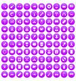 100 usa icons set purple vector image vector image