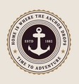 badge with an anchor and rope vector image vector image