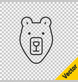 Black line bear head icon isolated on transparent