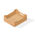 brown paper cardboard box with handles isometric vector image