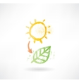 Brush icon with sun and plant vector image