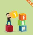 Cartoon Businessman stacking team box - - EP vector image vector image