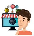 cartoon man e-commerce monitor isolated design vector image vector image