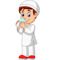 cartoon muslim boy drinking water vector image vector image