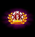 casino banner with poker chip and crown icon vector image