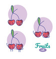 cherries cute fruits cartoons vector image vector image
