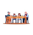 children and grandparents at table enjoy dinner vector image
