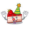 clown strawberry cake mascot cartoon vector image vector image