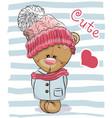 cute cartoon bear girl vector image vector image