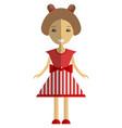 cute girl cartoon character wearing red summer vector image