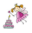 cute little fairy with cake sketch for your vector image vector image