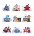 cute snowy suburban houses set rural cottage vector image