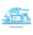 e-learning education online line design concept vector image vector image