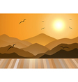 Evening Mountains with wooden Floor vector image