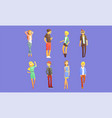 fashionable guys and girls dressed in trendy vector image vector image