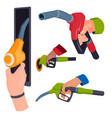 filling gasoline station pistol in people hands vector image vector image