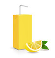 fresh lemon and paper pack fruit straw isolated vector image vector image