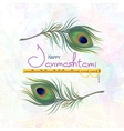 Greeting card for happy Janmashtami vector image