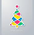 Greeting card with paper cut Christmas tree vector image vector image