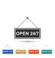 hanging sign with text open 24-7 hours icon vector image vector image
