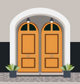 house door front with window steps lamps and vector image vector image