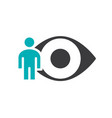 human eye with man colored icon human visual vector image