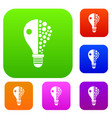 light bulb set color collection vector image vector image